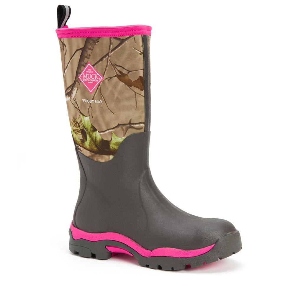 Muck Boots Women's Woody PK Hunting Boot, Bark/Hot Pink, WWPK-RAPG