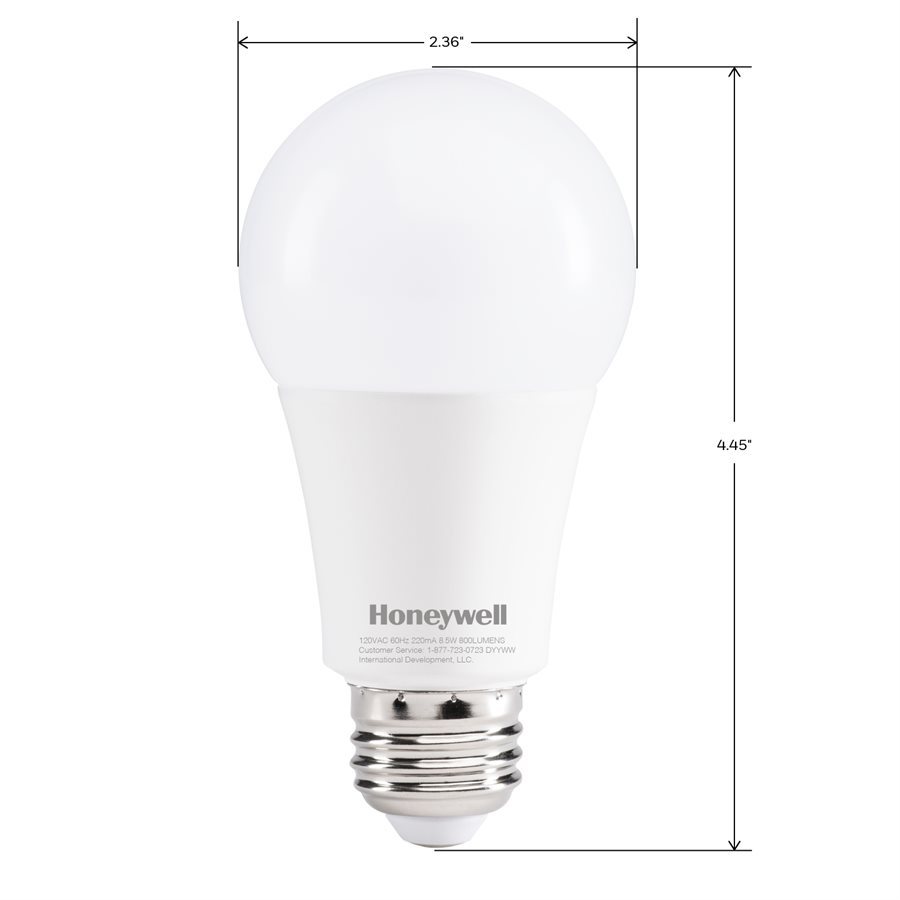 Honeywell A19 LED Light Bulbs, 60W Equivalent Dimmable 3 Pack, A196027HB322