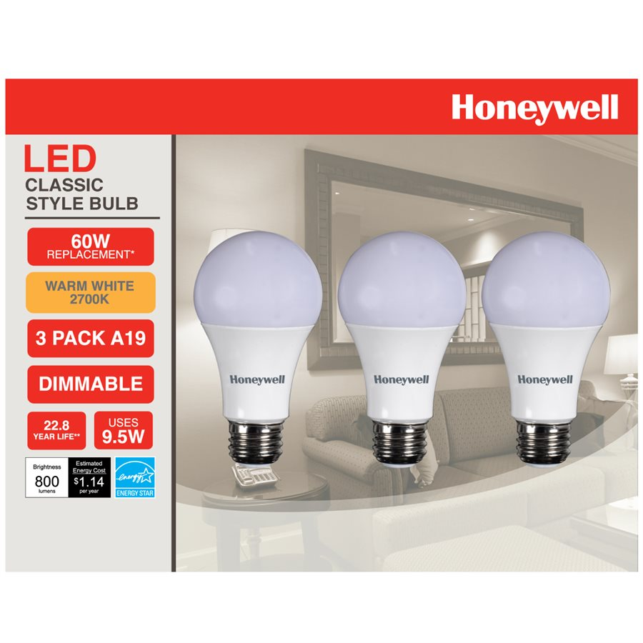 Honeywell A19 Led Light Bulbs 60w Equivalent Dimmable 3 Pack A196027hb322