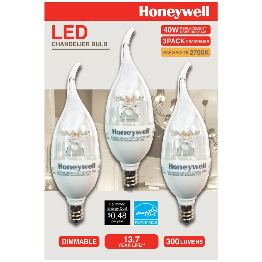 Honeywell b114027hb320 candelabra chandelier led light bulbs 3 honeywell b11 candelabra chandelier led light bulbs 40w equivalent dimmable 3 pack b114027hb320 aloadofball Images