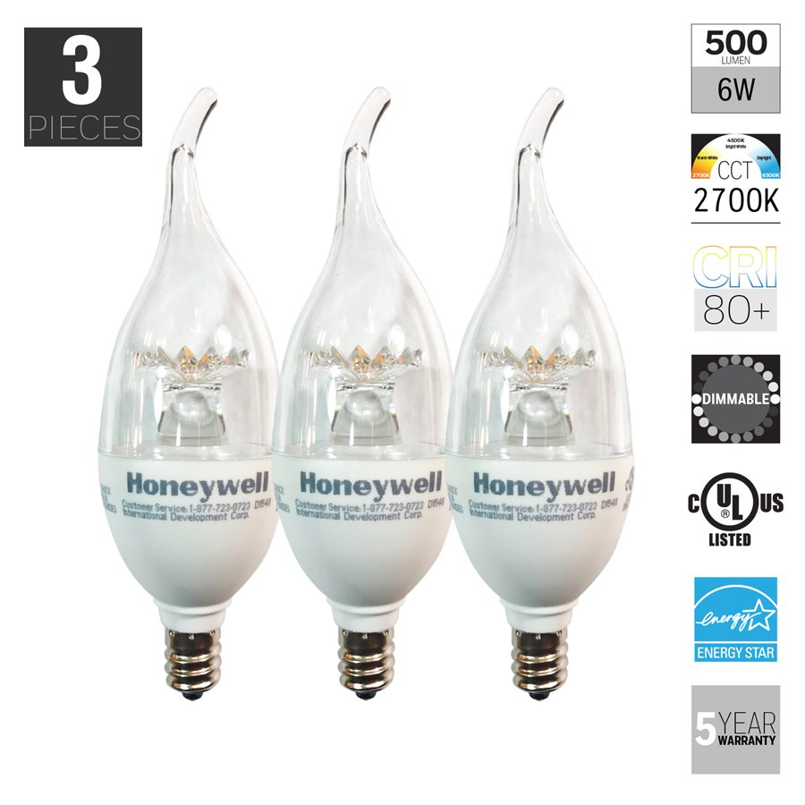 Honeywell B11 Candelabra Chandelier Led Light Bulbs 60w Equivalent Dimmable 3 Pack