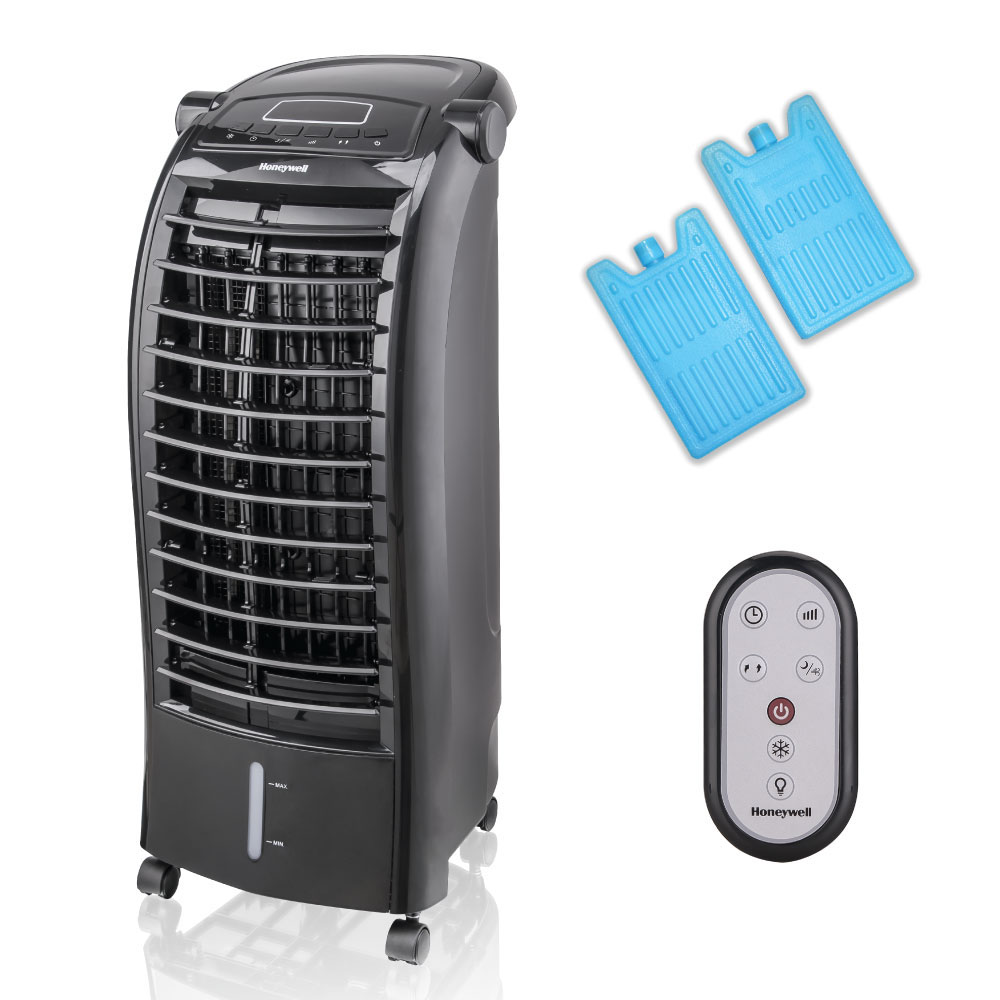 Honeywell CS074AEKK Portable Evaporative Cooler with Remote Control and Ice Pack, 200 CFM - 1.6 Gallon Tank (Black)