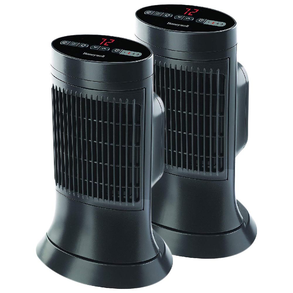 2 Pack Bundle of Honeywell Digital Ceramic Compact Tower Heater, HCE311V