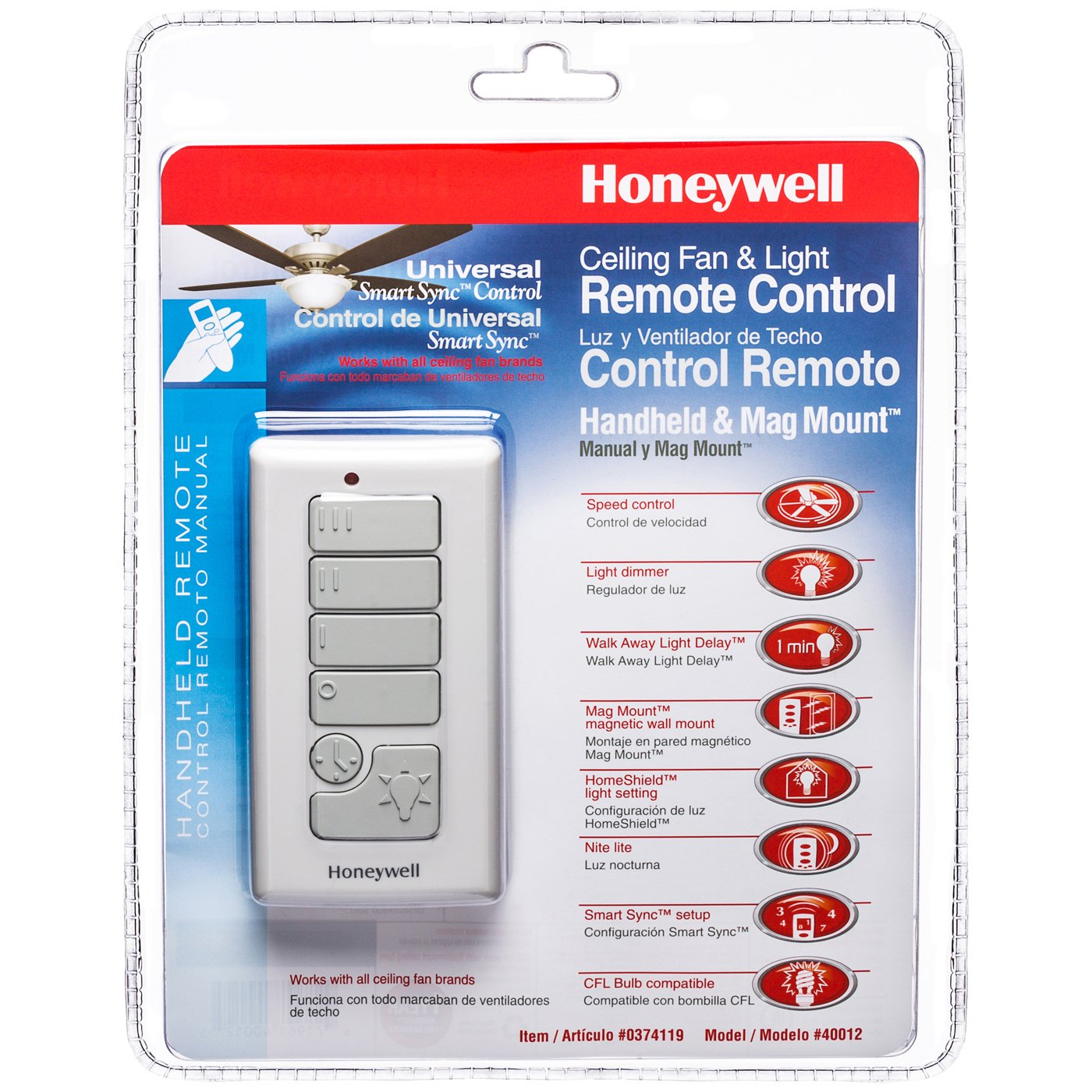 Honeywell Handheld Ceiling Fan Remote With Magnetic Wall Mount Model 40012 Honeywell Ceiling