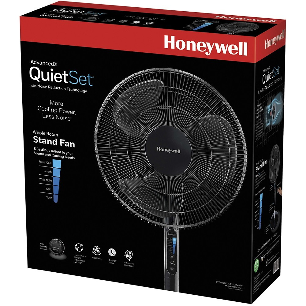 Honeywell Advanced QuietSet 16 in. Stand Fan with Noise Reduction Technology - Black, HSF600B