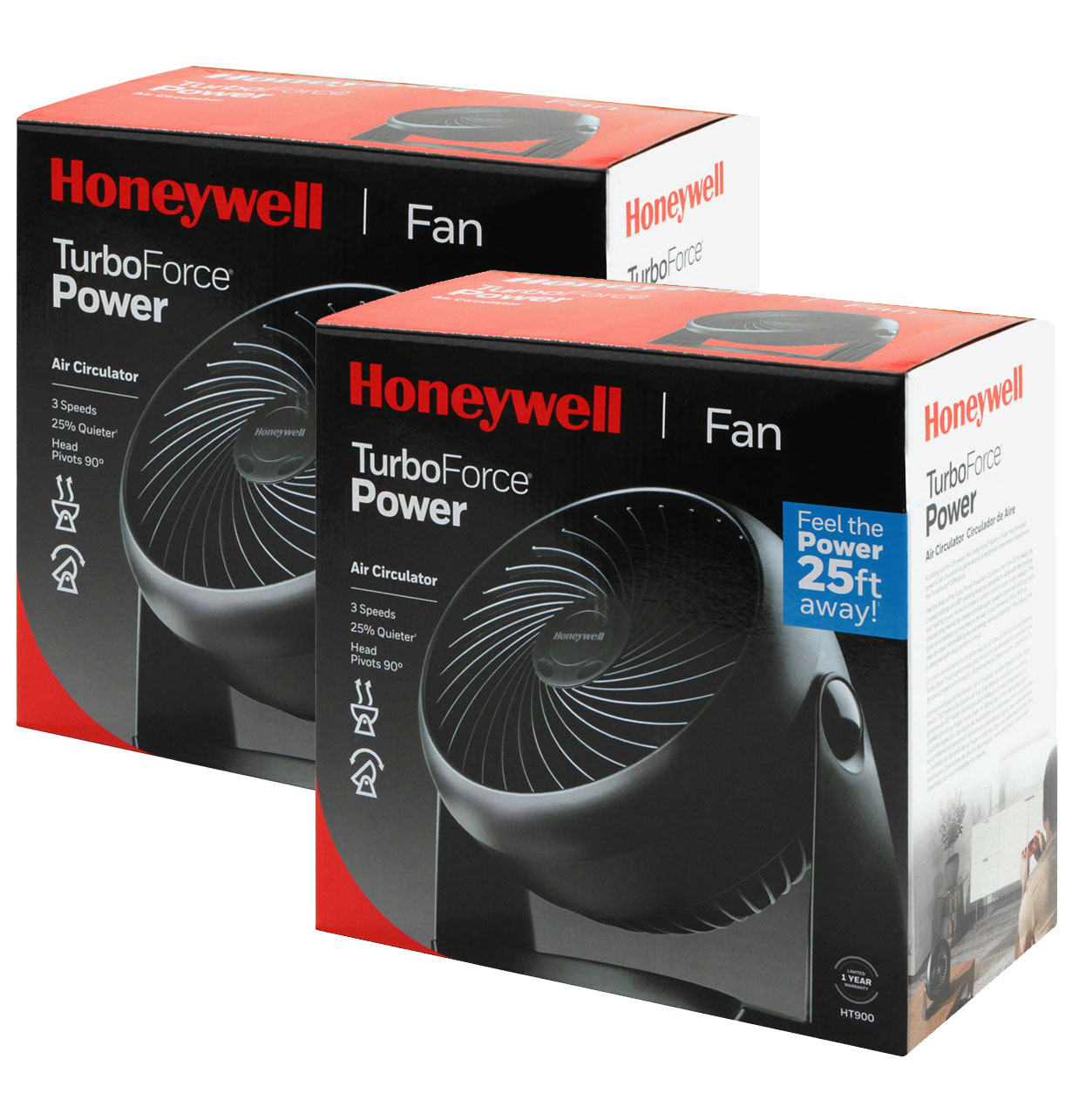 2 Pack Bundle of Honeywell Whole Room Air Circulator Fan, HT-908