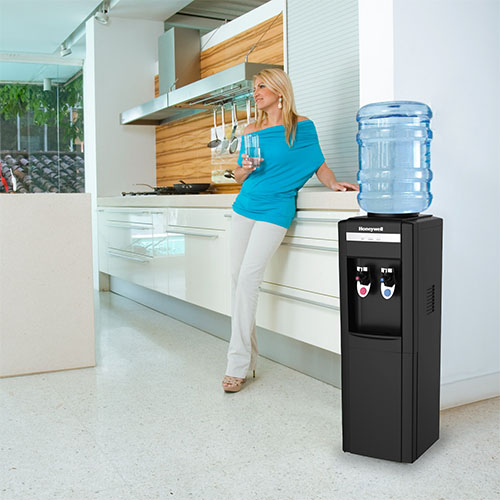 Honeywell 39-Inch Freestanding Toploading Water Cooler, Hot & Cold Temperatures with Thermostat Control, Black - HWB1052B2