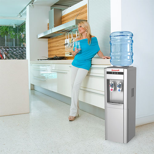 Honeywell 39-Inch Freestanding Toploading Water Cooler, Hot & Cold Temperatures with Thermostat Control, Silver - HWB1052S2