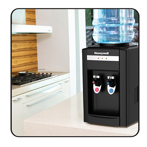 Honeywell 21-Inch Tabletop Water Cooler, Hot & Cold Temperatures with Thermostat Control, Black - HWB2052B2