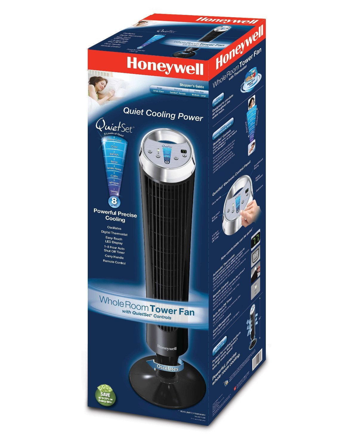 The Honeywell Hy 280 Quietset Whole Room Tower Fan Black