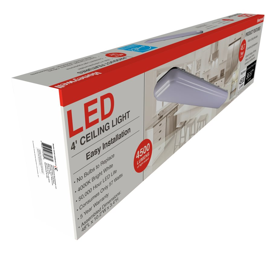 Honeywell 4' Rectangular LED Ceiling Light, 4500 Lumen, KW145N846110