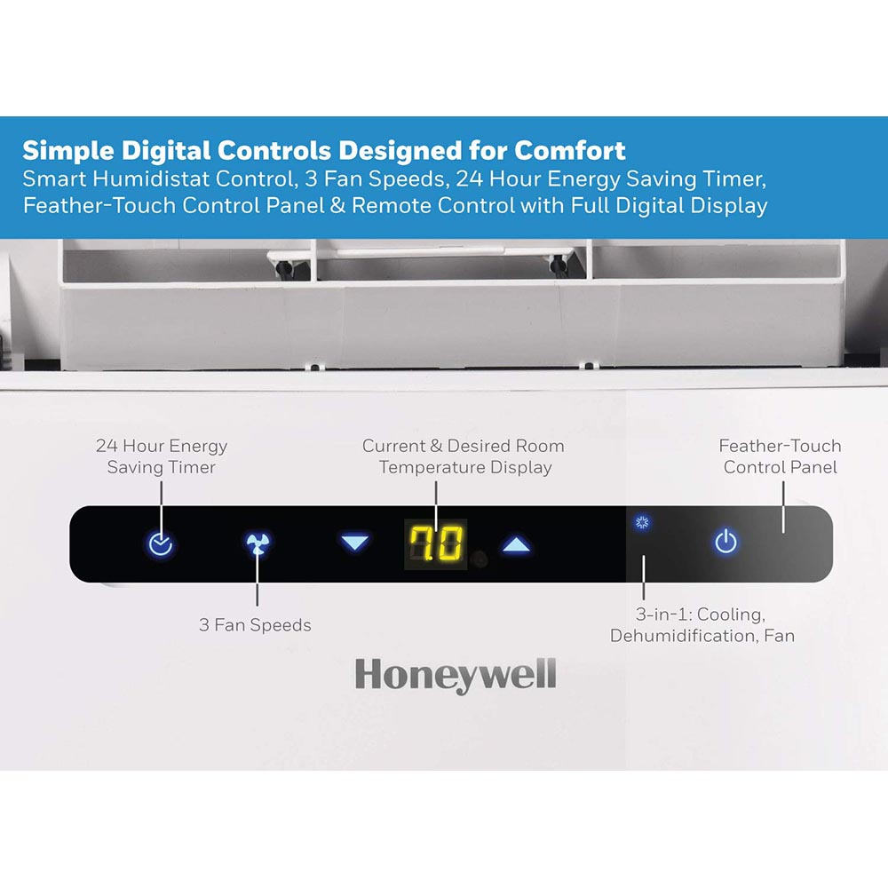 Honeywell MN12CEDWW Portable Air Conditioner, 12,000 BTU Cooling, with Dehumidifier & Fan, Dual Hose (White)