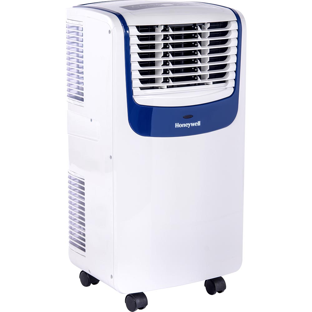 Honeywell Compact Portable Air Conditioner with Dehumidifier and Fan for Rooms Up to 350 Sq Ft in White//Blue 250
