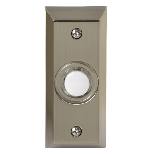 Honeywell RPW204A1005/A Wired Surface Mount Illuminated Push Button for Door Chime, Stainless Steel Finish