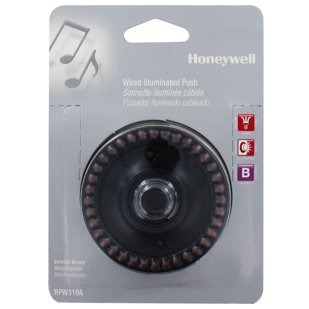 Honeywell Wired Illuminated Push Button for Door Chime, RPW319A1001/A