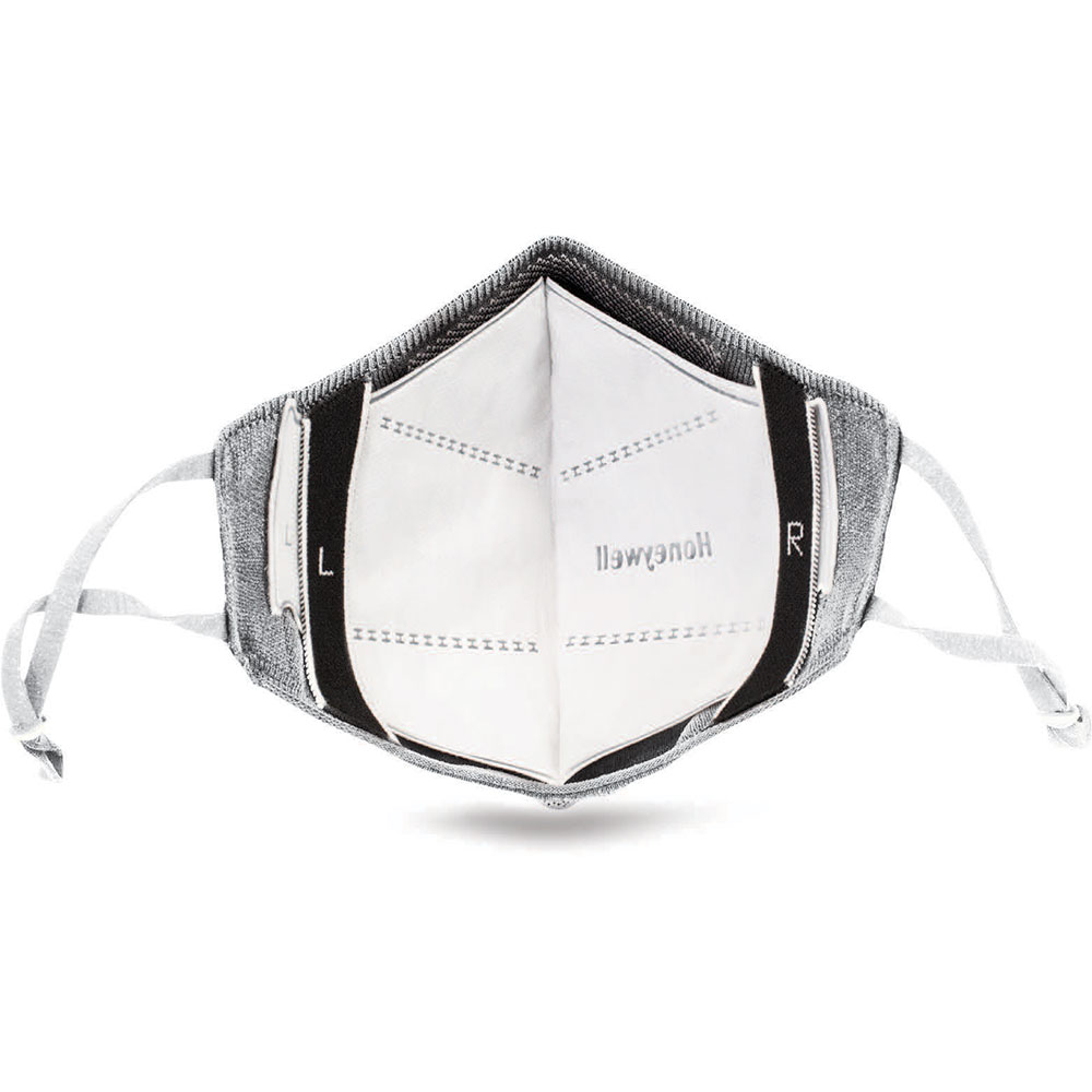 Honeywell Dual-Layer Face Cover (Size Small) with 8 Replaceable Filters, Light Gray - RWS-50115
