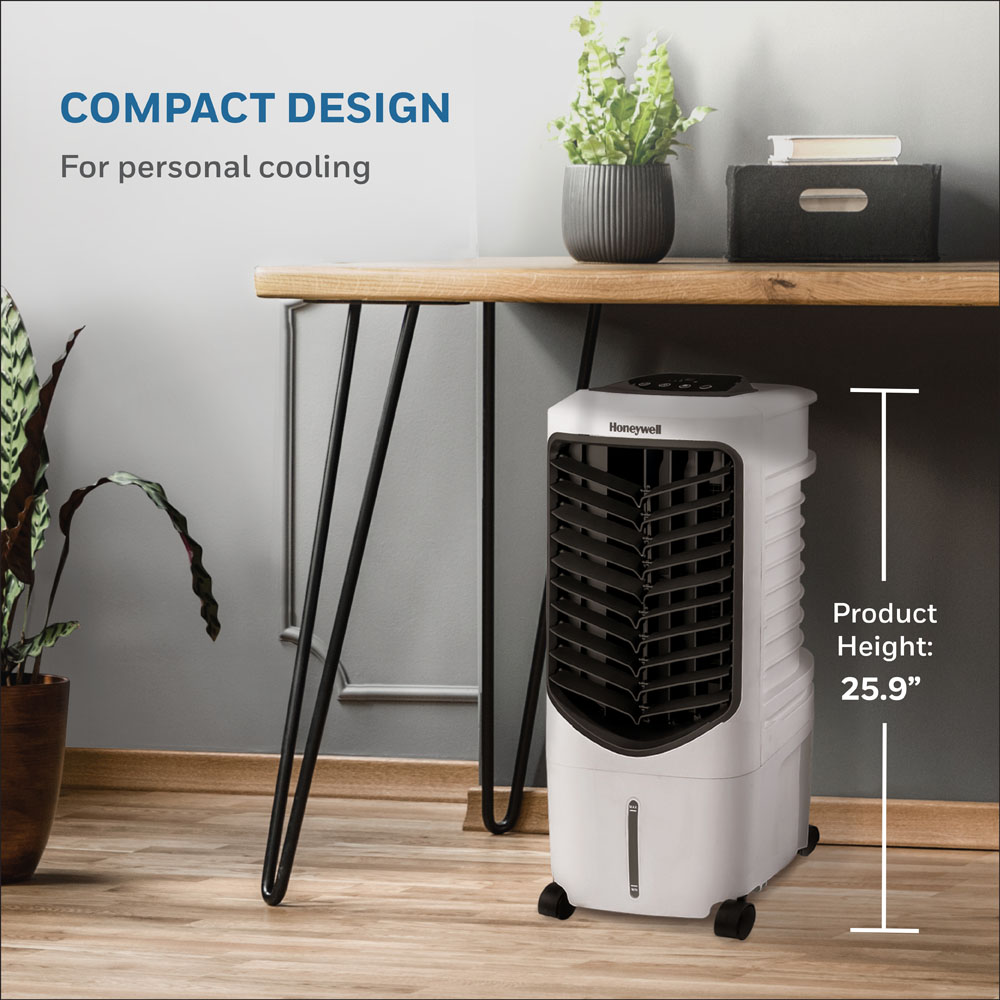 Honeywell TC09PEU Compact Evaporative Tower Air Cooler with Spot Fan & Humidifier, 200 CFM - 2.4 Gallon Tank (White)