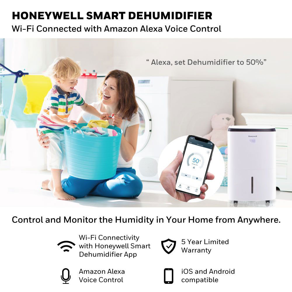 Honeywell TP30AWKN Smart 30-Pint Energy Star Dehumidifier with Wifi Connectivity and Alexa Control for Smaller Rooms Up To 1000 Sq. Ft.