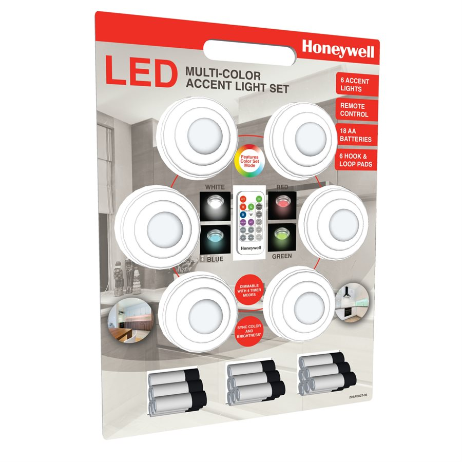 Honeywell Battery Ed Accent Light Set Includes 6 Color Changing Lights Pack