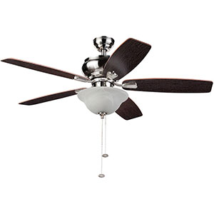 Honeywell Elston Ceiling Fan with LED Lights, Satin Nickel, 52 Inch - 10290