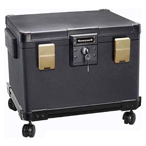 Honeywell 1108W Legal Size Waterproof 1 Hour Fire File Chest (1.06 cu ft.) with Wheel Cart