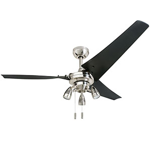 Honeywell Phelix 56 In. Nickel 3 Blade Contemporary Ceiling Fan - 50611-03