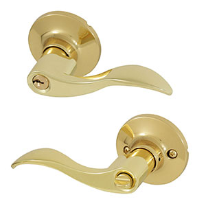 Honeywell Wave Entry Door Lever, Polished Brass, 8106001