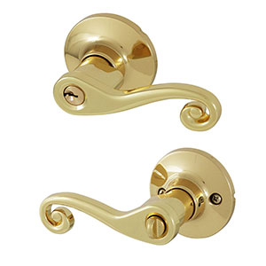 Honeywell Scroll Entry Door Lever, Polished Brass, 8108001