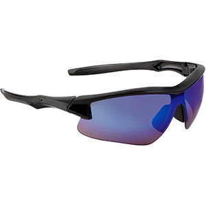 Honeywell Acadia Shooter's Safety Eyewear, Black Frame, Blue Mirror Lens with Scratch-Resistant Hardcoat Lens Coating - R-02218