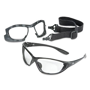 Honeywell Uvex Seismic 2-in-1 Eyewear and Goggle Kit, Black Frame, Clear Lens, Anti-Fog Lens Coating - RWS-51043