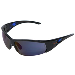 Honeywell HS100 Safety Eyewear, Gloss Black Frame, Blue Mirror Lens, Scratch-Resistant Hardcoat Lens Coating - RWS-51066