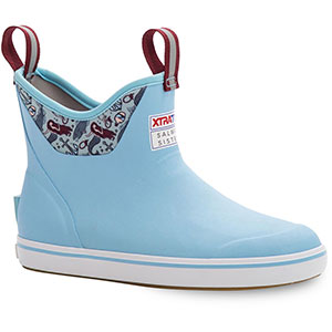 XTRATUF Women's Salmon Sisters Blue Mermaid Life Ankle Deck Boot, Light Blue - XWAB-2BM