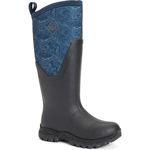 Muck AS2T-201 Women's Arctic Sport II Tall Boot, Black/ Navy Topography