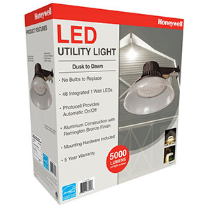 Honeywell LED Barn Light With Plastic Shade, 5000 Lumen in Bronze, MA095052-78