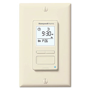 Honeywell RPLS541A1001/U ECONO Switch Programmable Light Switch Timer (Almond)