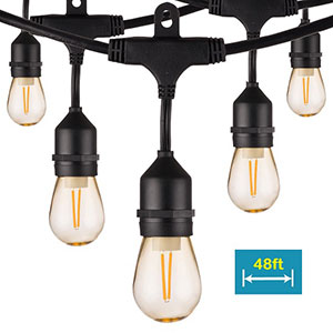 Honeywell 48 Foot Amber LED String Light Set with Polystyrene Bulb, SW148A221110